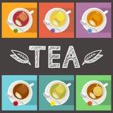 Чашки различного вида чая с сумками Стоковые Фото