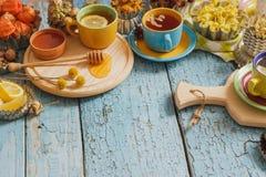 Чашки с травяным чаем и частями лимона, высушенных трав и различных украшений Стоковая Фотография RF