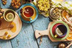 Чашки с травяным чаем и частями лимона, высушенных трав и различных украшений Стоковые Фото