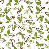 Чашки чаю с картиной зеленых листьев безшовной иллюстрация вектора