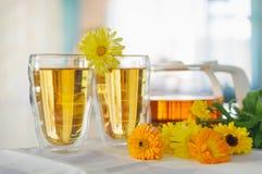 2 чашки чая ноготк calendula на таблице, с свежими цветками indoors стоковое фото