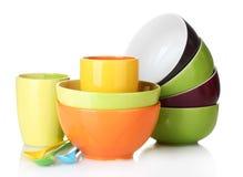 чашки шаров яркие опорожняют ложки стоковые фото