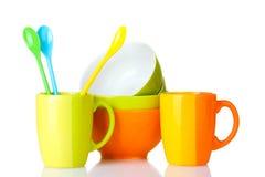 чашки шаров яркие опорожняют ложки Стоковые Изображения