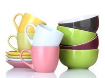 чашки шаров яркие опорожняют плиты Стоковая Фотография RF