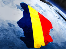 Чад с врезанным флагом от космоса Стоковая Фотография