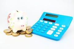чалькулятор банка piggy Стоковое Изображение