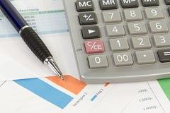 Чалькулятор и ручка Стоковое Изображение RF