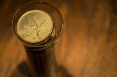 чеканит золотистое Старая итальянская лира стоковые фотографии rf