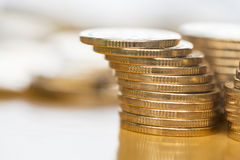 чеканит золото евро доллара Стоковое Изображение RF