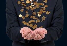 чеканит падая золото Стоковое фото RF
