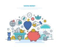 чеканит сбережениа кучи дег рук принципиальной схемы защищая Накопление, финансовая обеспеченность, вклады, сбережения, банковски иллюстрация штока