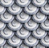 чеканит текстуру сделанную евро безшовную серебряную Стоковая Фотография