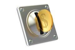 Чеканьте акцептор с золотой монеткой, переводом 3D Стоковое Фото