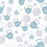 Чеканьте дизайн картины зеленых чайников безшовный бесплатная иллюстрация