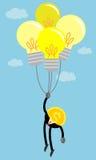 Чеканьте деньги в воздухе воздушным шаром электрической лампочки идеи Стоковые Изображения RF