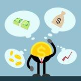 Чеканьте деньги думая денег, счета, монетки, сумки и торговли Стоковая Фотография