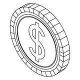 Чеканьте значок изолированный деньгами иллюстрация вектора