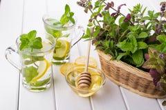 Чеканьте чай с лимоном и медом, корзиной с свежей мятой Стоковое фото RF