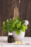 Чеканьте sprigs, масло пипермента и пилюльки над деревянным столом Стоковое Изображение