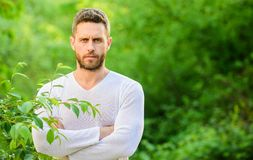 Человека красивая бородатая хипстера стойки предпосылка природы уверенно o Окружающая среда природы мирная o стоковое изображение rf