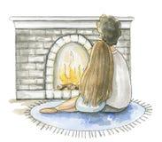 Человек акварели и женщина сидят около камина иллюстрация штока