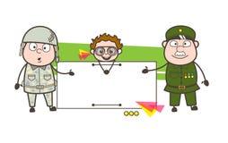 Человек 2 армий представляя знамя объявления с капризной иллюстрацией вектора ребенк Стоковое Фото