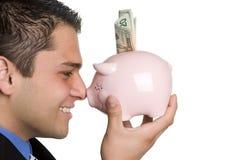 человек банка piggy Стоковое фото RF