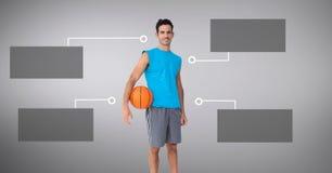 Человек баскетбола с пустыми infographic панелями диаграммы стоковое фото rf