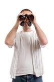 человек биноклей Стоковые Фотографии RF