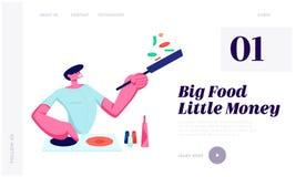 Человек варя на кухне дома держа лоток с едой, подготавливая очень вкусную здоровую еду на датировка или свободное временя выходн бесплатная иллюстрация