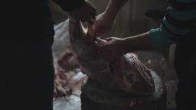 Человек взрослого прерывает сырое мясо используя нож конец вверх Другой мужчина помогает ему Другие части мяса на поле сток-видео