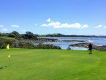 Человек выравнивая вверх удар загоняющий мяч в лунку пока играющ в гольф в Waitangi, северном острове, Новой Зеландии стоковая фотография rf