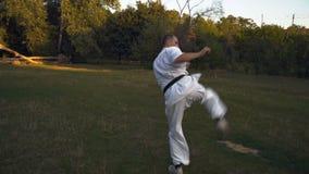 Человек в кимоно, практикующий врач карате, выполняет удары путем пиная mawashi gehry в утре на glade в парке города видеоматериал