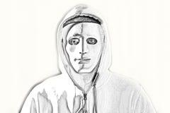 Человек в куртке клобука белой маски нося белой стоковое изображение rf