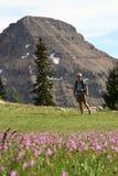 Человек в лужке горы Стоковое Изображение
