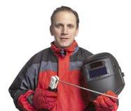 Человек в одеждах деятельности и маске сварщика стоковая фотография rf