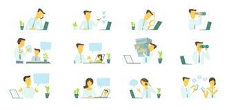 Человек в офисе на работе Искать ноутбук Корреспонденция, сообщение и решение проблем бесплатная иллюстрация