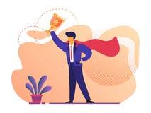Человек в плаще супергероя красном держа кубок золота иллюстрация штока