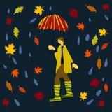 Человек в резиновых шлюпках под вектором зонтика для знамени и открытки иллюстрация штока