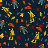 Человек в резиновых шлюпках под зонтиком и женщиной в картине вектора шарфа для обоев открытки знамени бесплатная иллюстрация