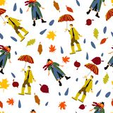 Человек в резиновых шлюпках под зонтиком и женщиной в картине вектора шарфа для обоев открытки знамени иллюстрация вектора