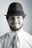 Человек в шлеме и связи стоковое изображение rf