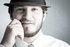 Человек в шлеме и связи Стоковое Изображение