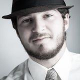 Человек в шлеме и связи Стоковые Изображения RF