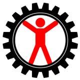 Человек в cog-wheel Стоковые Изображения