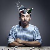 Человек голова которого заполнена с человеческими страстями стоковые фотографии rf