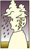 человек головной боли взволнованности Стоковая Фотография RF