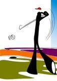 человек гольфа играя тень Стоковые Изображения