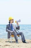 человек громкоговорителя трудного шлема Стоковая Фотография RF