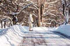 Человек гуляет в парке города после сильного снегопада Стоковая Фотография RF